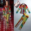 S-XXXL 2016 весна и лето мода шоу взлетно-посадочной полосы новый шаблон удобная повседневная рубашка + брюки национальный ветер ретро хит цвет