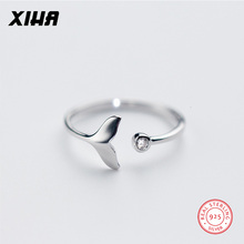 XIHA 925 Sterling Silver Rings for Women Mermaid Tail Design Solid Ring with Stone CZ Zircon Adjustable Fashion Jewelry