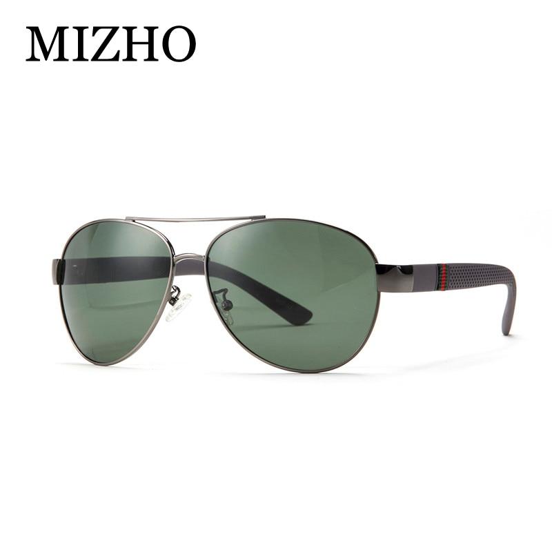 MIZHO Merk Hoge kwaliteit Originele Polaroid Zonnebril Heren 26g Licht Polyamides Been Legering Piloten Klassiek Zonnebril Driver Groen