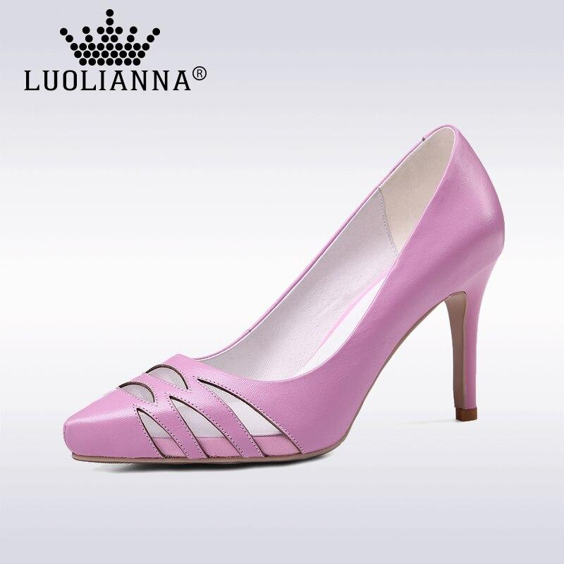 ФОТО High heels shoes woman 2017 Genuine leather women Pumps Thin Spike Heel Pointed Toe Spring Free shippinng  High heels LUOLIANNA