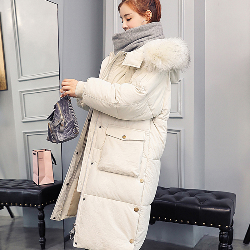 FMFSSOM Winter Solid Women Long Cotton Parkas Large Fur Collar Hooded Coat Casual Padded Warm Jackets Wadded Snow Overcoat(China)