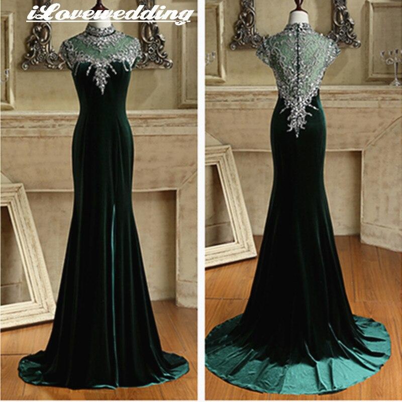 Dark Green Mermaid Evening Dresses Sweep Train High Neck Cap Sleeve with Luxury Crystal Beads Formal Party robe de soiree longue