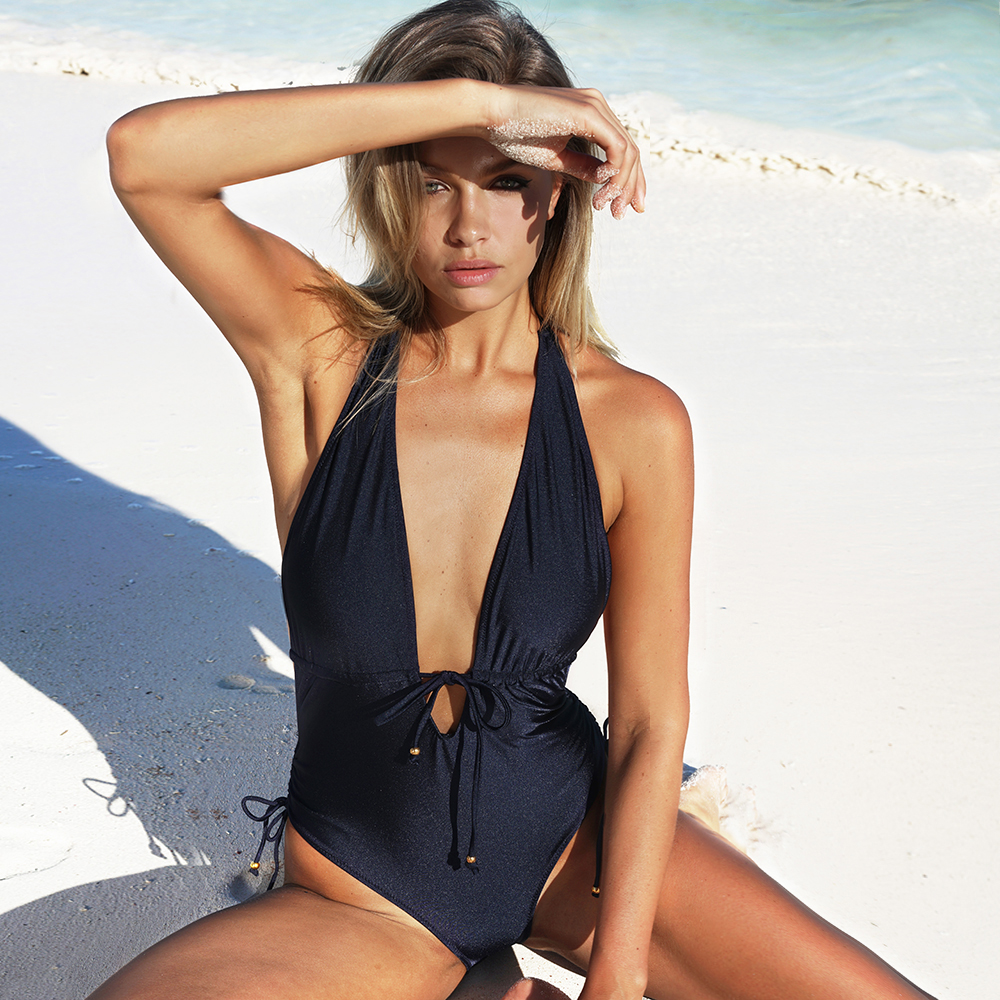 цены CUPSHE Best Wishes Halter One-piece Swimsuit Backless Deep V neck Summer Sexy Bikini Set Ladies Beach Bathing Suit Swimwear