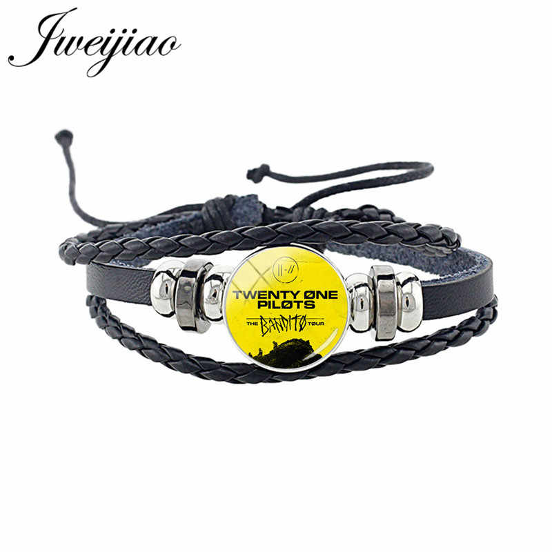 JWEIJIAO Twenty One Pilots Leather Bracelet Punk Music Band Sign Glass Cabochon Multi Layered Braided Cord For Men Women TO25