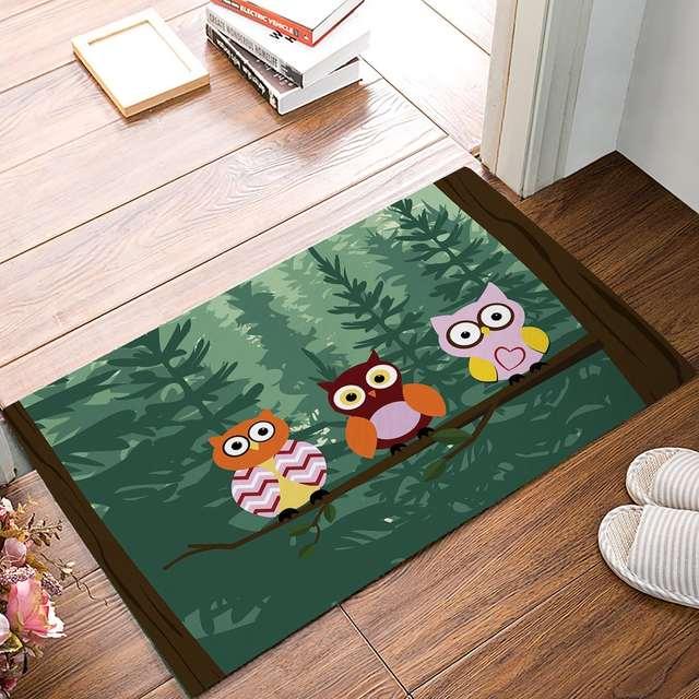 Forest Owl Door Mats Kitchen Floor Bath