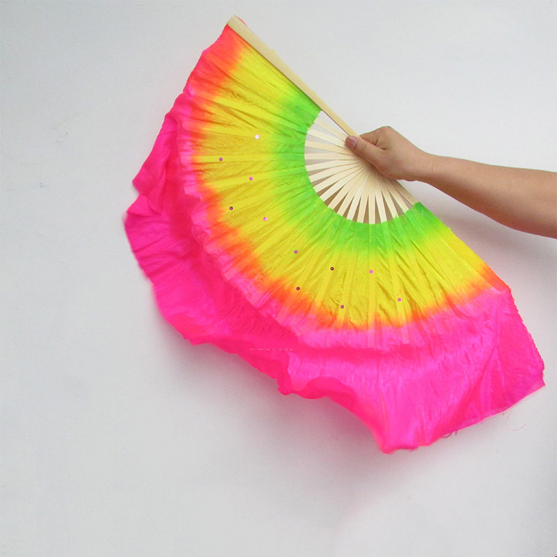 Chinese Dance Fan Double-sided Hand Fans Folding Home Decoration Crafts Party Wedding Dance Multicolour Fan Art 45cm