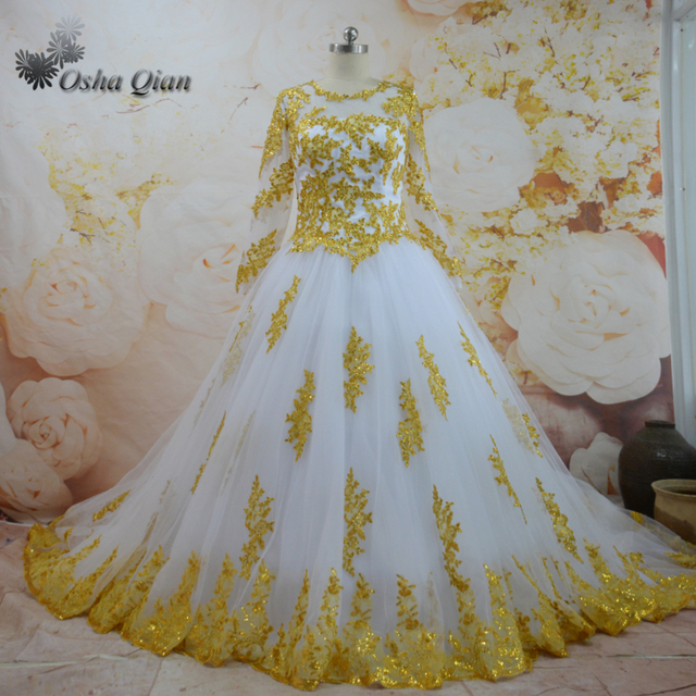High Quality Gorgeous White Gold Long Tail Wedding Dresses Lace Long
