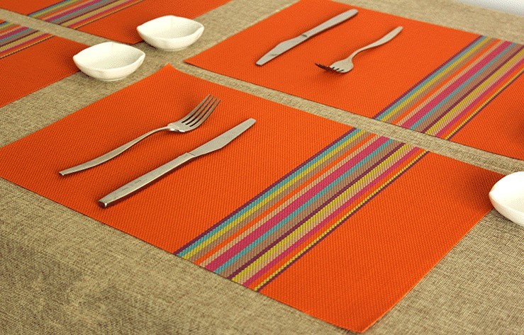 High Quality Rainbow Style PVC Placemat Dining Table Mats Table Bowl Pad  Napkin Dining Table Tray Mat Coasters