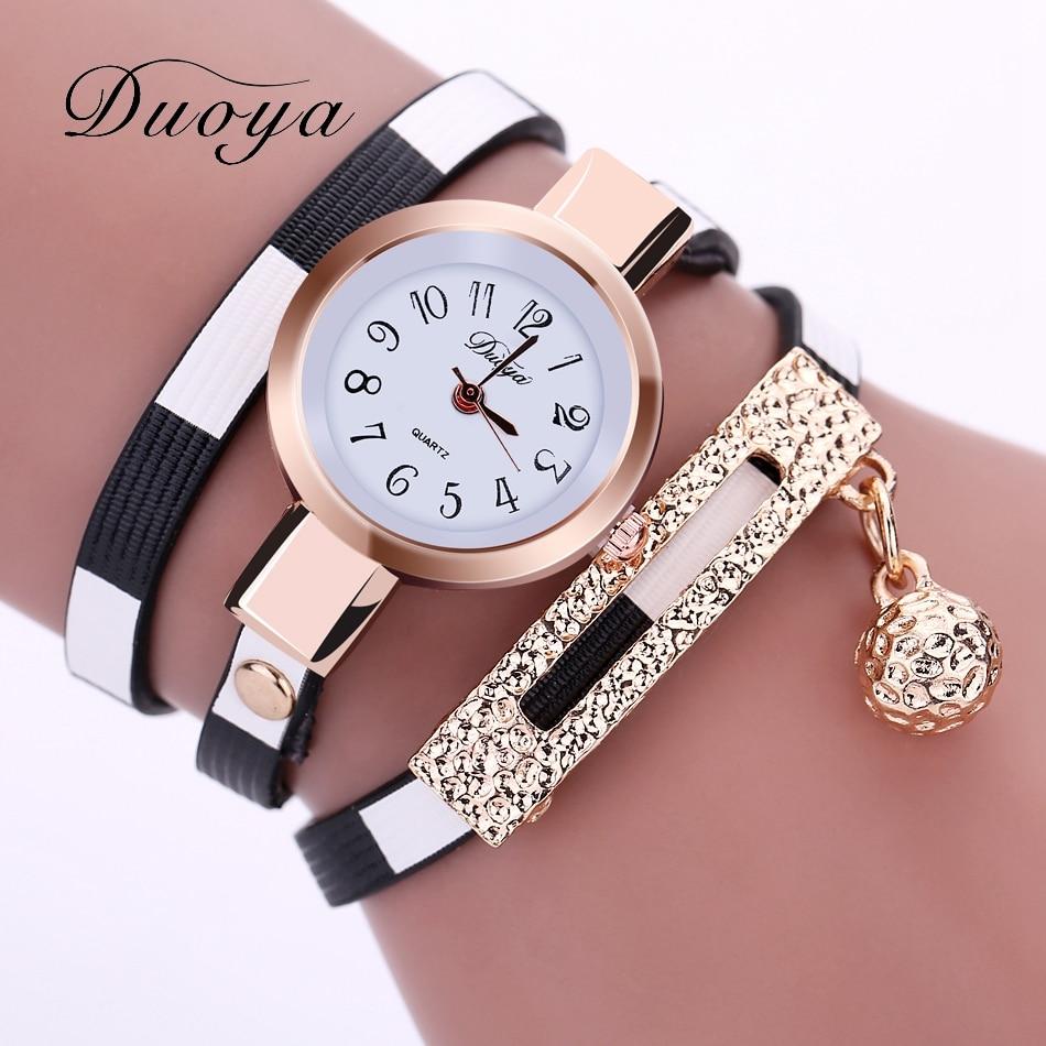 6c789cd86b4 Duoya Marca Casual Mulheres Moda Pingentes Pulseira de Couro Relógio Marca  StripeQuartz Relógio Relógios relógio de Pulso Das Senhoras Do Vintage