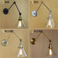 Glass Chrome Wall Light Lamp Mirror Finish Retro Industrial Vintage Edison Bulb lights lampe wall mounted swing arm lights ABCD