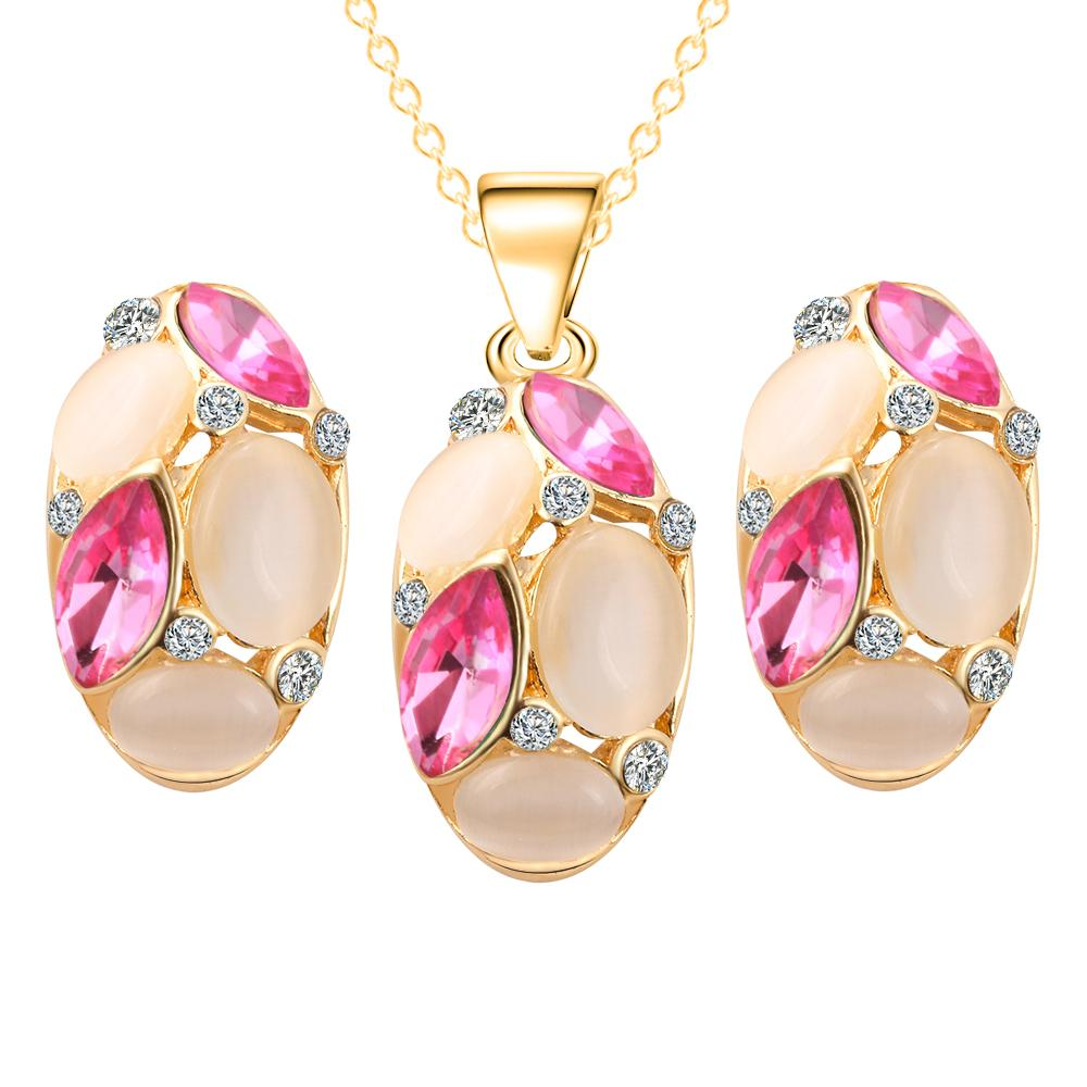 Aliexpress : Buy Brand Design Cute Opal Jewelry Sets Pendant Necklaces  Earrings For Women Wedding Color Crystal Jewelry Parure Bijoux Femme From