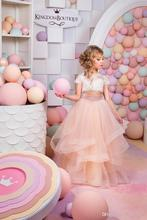 2016 Lovely Two Pieces Ruffles Flower Girls' Dress For Weddings Cheap Short Sleeve Lace Floor Length Little Girl's Gowns FD136