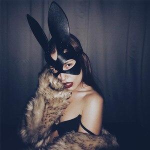 Image 2 - أقنعة تنكرية مثيرة على شكل أرنب المرأة فتاة من الجلد الأسود قابلة للتعديل لعب الكبار آذان القط الخاصة هالوين أقنعة تنكرية للحفلات