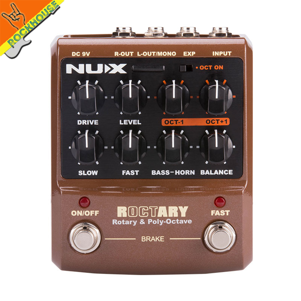 Latest NUX Roctary Force Guitar Rotary Speaker Cabinet Simulator Pedal Octave Guitar Effects Pedal 2in1 Stompbox