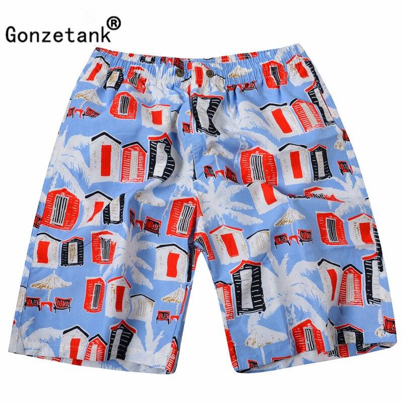 Gonzetank 2017 New Designer Summer Hawaiian Mens Beach Shorts Red House Bermuda Sweat Jogger Cargo Short Size L-XXL
