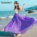 Chiffon long skirt summer maxi tulle beach saia elastic high waist pleated ankle length Bohemian style big expansion tutu skirts