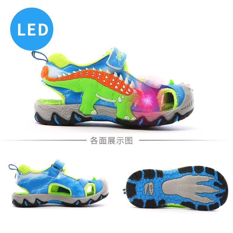 DINOSKULLS Summer Sandals Kids Boys Dinosaur Glowing Sneakers LED Beach Sandals Leather Rubber Anti-Slip Children Shoes #28-#34