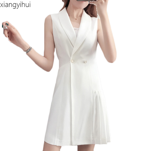 Plus Size White Blazer Dress Women Solid Fashion Notched Collar ...