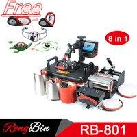 8 in 1 Combo Heat Press Machine Sublimation Heat Press Heat Transfer Machine For T shirt Mug Plate Cap Phone Case