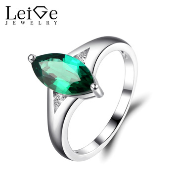 Leige Jewelry Emerald Engagement Rings for Women Marquise Cut Green Gemstone Wedding Promise Ring Sterling Silver Fine Jewelry
