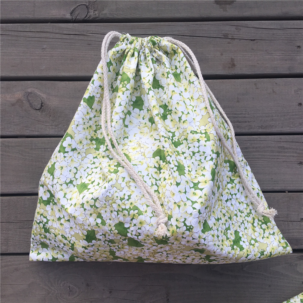 1pc Cotton Twill Drawstring Travel Organized Sorted Bag Party Gift Bag Green Flowers YL9501