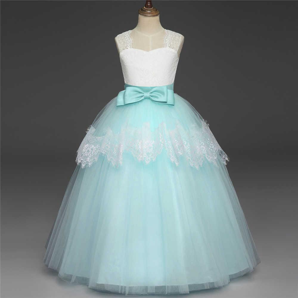 ロマンチックなピンクパフィーレース長袖フラワーガールのドレス夜会服ガールパーティー聖体ドレスページェント