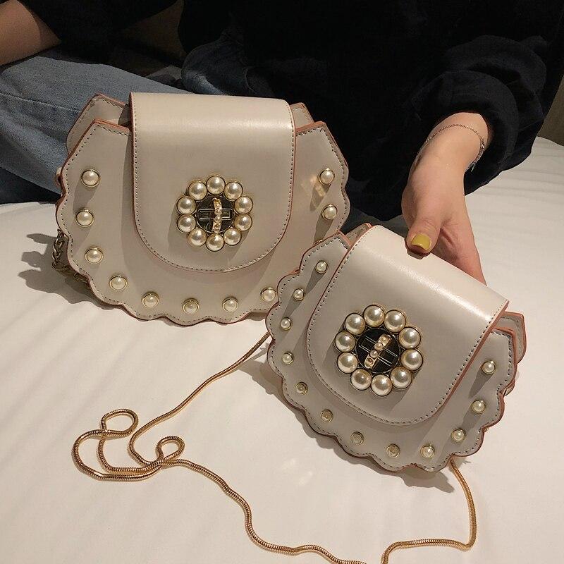 2019 Summer New Saddle Bag High Quality PU Leather Flip Bag Women's Designer Handbag Pearl Lock Chain Shoulder Messenger Bags