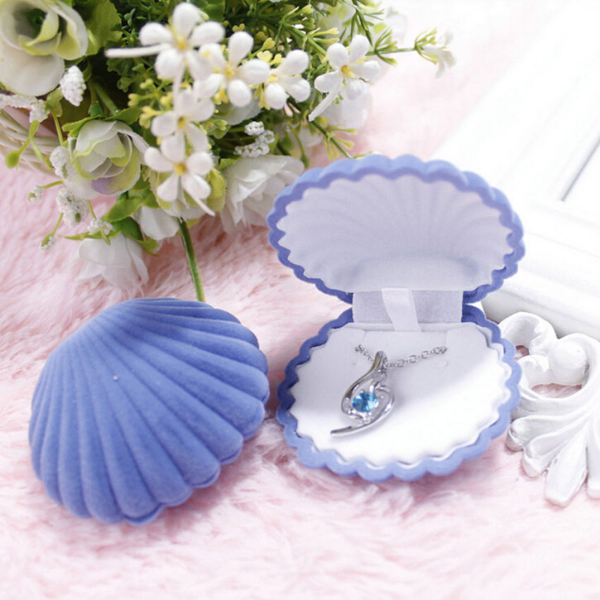 1 Piece Velvet Wedding Engagement Ring Box Shell Shape Earrings Necklace Bracelet Jewelry Cases Display Gift Box Holder