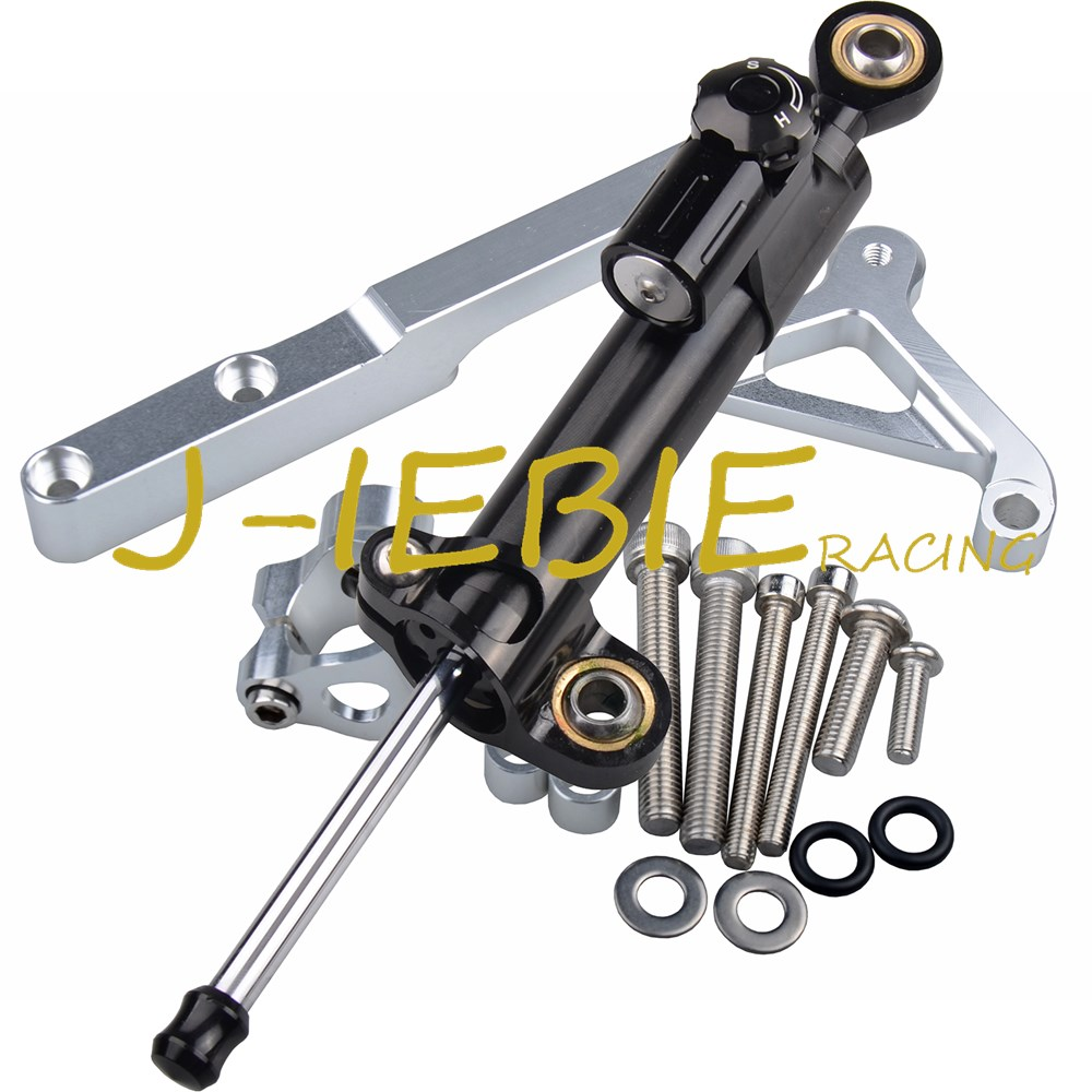 CNC Steering Damper Stabilizer and Silver Bracket Mounting For Honda CB1000R CB1000 R 2008 2016 2009
