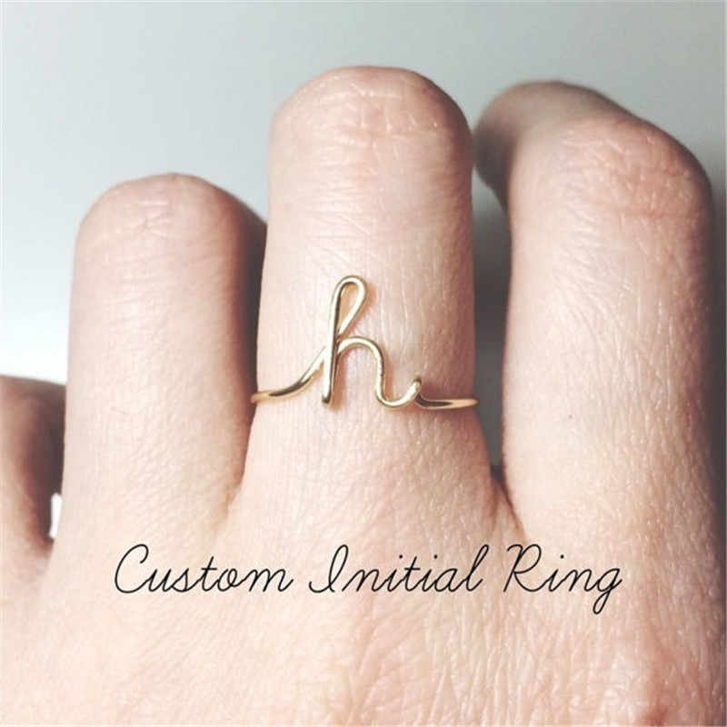 2019 Unisex Gold Silver Color A-Z 26 Letters Initial Name Rings for Women Men Adjustable Alloy Finger Rings Female Party Jewelry