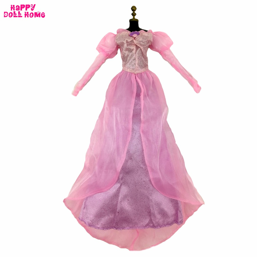 Fairy Tale Princess Dress Fashion Pink Copy Mermaid Ariel Outfit Long Sleeves Dancing Party Clothes For 17 Doll Accessories Toy jetem fairy pink