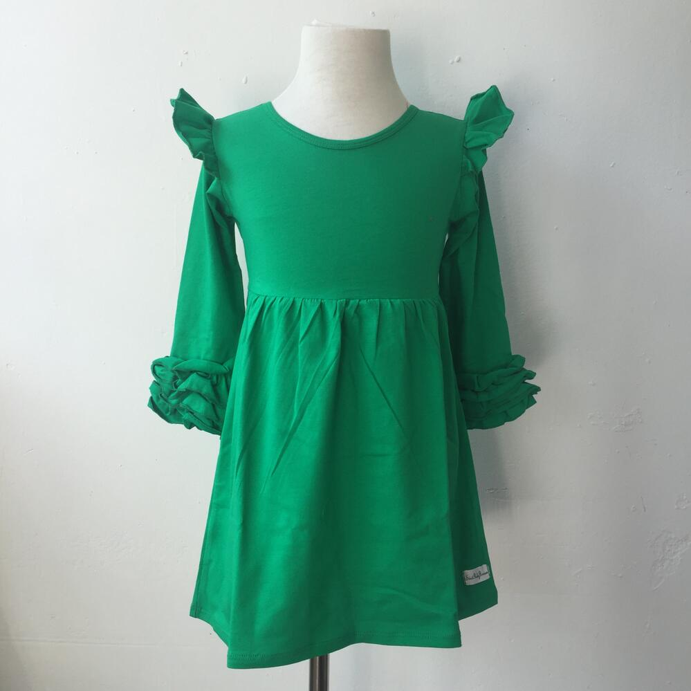 optional solid color icing dress kids Exquisite cotton ruffle dress ...