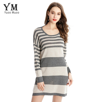 YuooMuoo 2018 Spring And Autumn New Fashion Casual Loose Knitted Dress European Style O Neck Long
