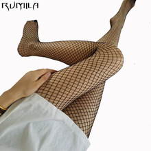 Black medium grid SEXY women high waist stocking fishnet club tights panty knitting net pantyhose trouser mesh lingerie TT016