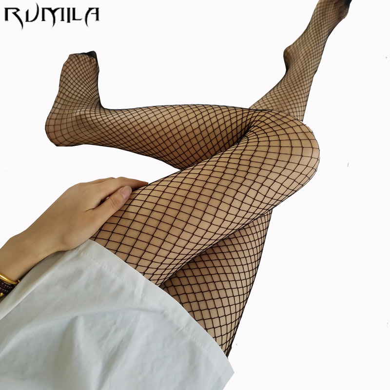 Black medium grid SEXY women high waist stocking fishnet club tights panty knitting net pantyhose trouser mesh lingerie TT016