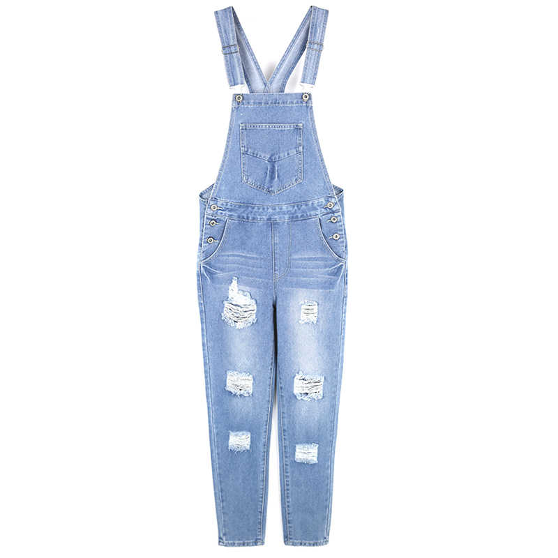 18486de4893 ... 2019 New Loose Korean New Womens Jumpsuit Denim Overalls Casual Ripped  Girls Pants Jeans