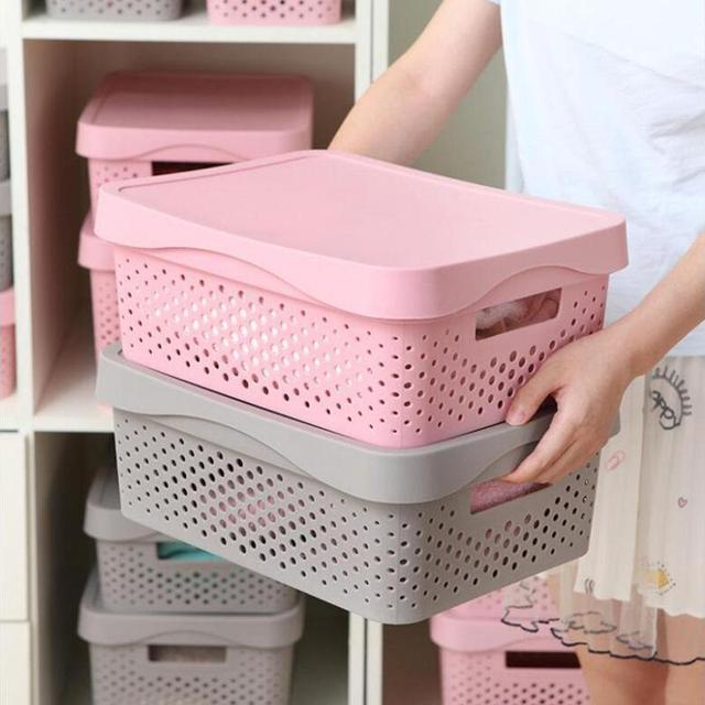 Plastic Desktop Storage Basket Laundry Clothes Socks Toys Snacks Sorting Sundries Box Fridge Organizer Q20