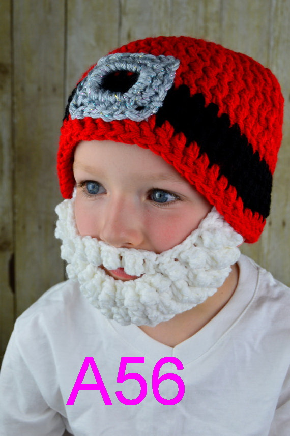 100piece New Arrival Hot Sale Fashion Baby Christmas Hat Costume Crochet Santa Claus Hat With Face Mask Wig Beard Beanies Hat