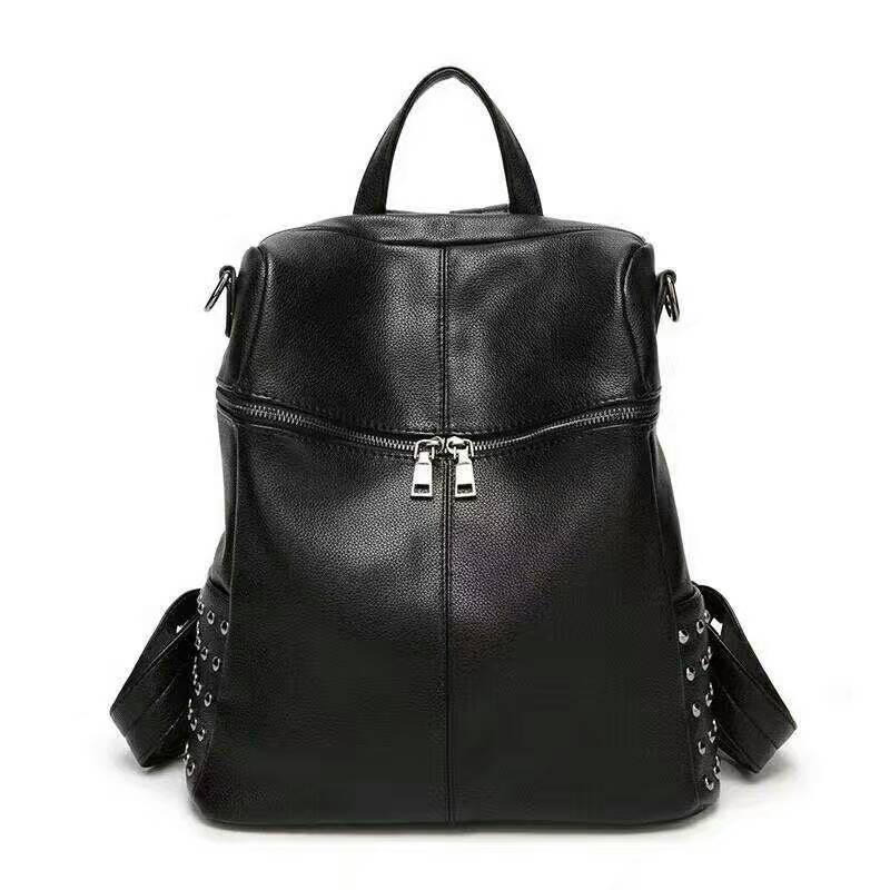 ФОТО Korean style black backpack genuine leather double belt shoulder bag big travel bag Female bags