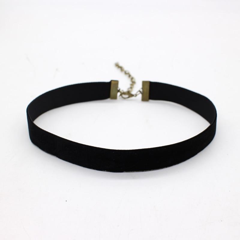 Gargantilla de terciopelo negro sencilla para mujer, collar de cuerda, estilo gótico, redondo, liso de los 90, joyería Retro