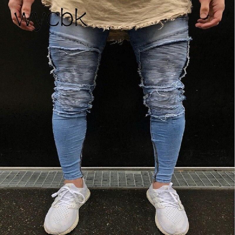 wycbk 2018 New Hem Zipper Stretch Knee Ripped biker Jeans Men Hole Hip Hop Brand Clothin ...