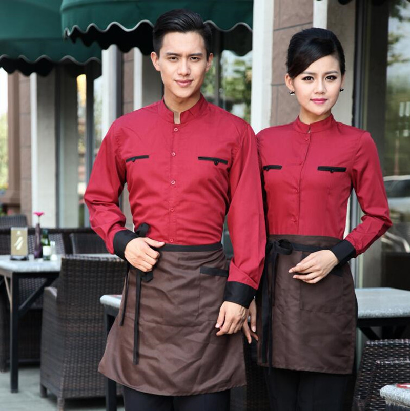 Restaurant Waitress Jacket Work Clothes Fast Food Shop Hotel Women Long-sleeved Uniform Dining Catering Waiter Overalls H2362
