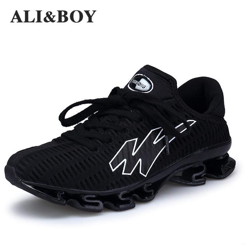 Men's Big Size Spring Blade Running Shoes Breathable Shock Absorb Black Sports Sneakers Men Light Jogging Trainer Shoes Male