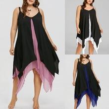 02e7948056b Women Plus Size Chiffon V-Neck Solid Insert Layered High Low Sleeveless  Dress vestidos verano