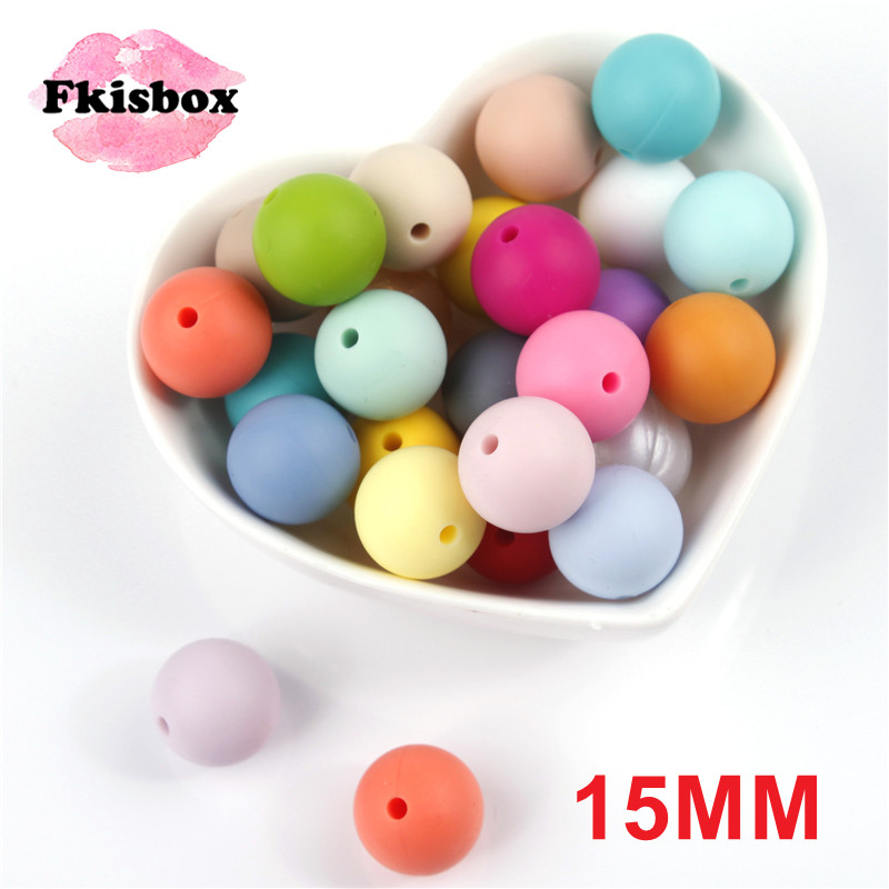 Fkisbox 100pc 15mm Round Silicone Teether Bead Bpa Free Baby Teething Necklace Accessories Baby Pacifier Chain Silicone Beads