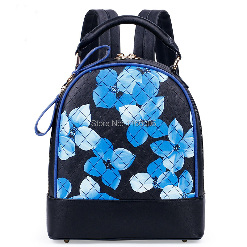 Hot Sale Girls School Bags Women Pu Backpack Print Floral Cute ...
