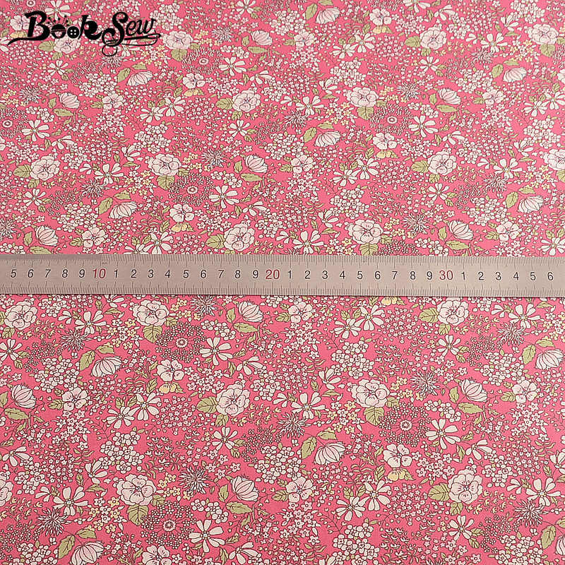 Buku Tissu Tecido Dicetak Floral DIY 100% Katun Pink Twill Jahit Kain Tekstil Meter DIY Gaun Bahan Telas Por Metro