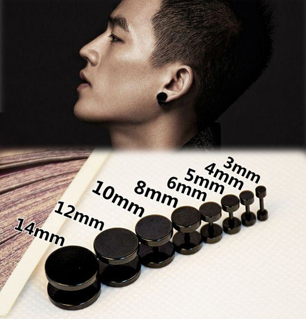 1pcs New Black Gothic Barbell Earring Fashion Stainless Steel Round Plain Men Stud Jewelry 8