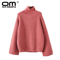 OMCHION Turtleneck Sweaters Women Winter 2018 Korean Jumpers Thick Knitted Clothes Fashion Oversized Female Pullover LMM275