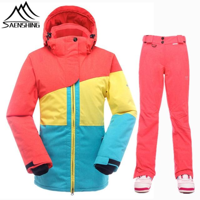 SAENSHING Brand Ski Suit Women Waterproof Ski Jacket Snowboard Pants Thermal Breathable Snowboarding Suits Outdoor Winter Suit